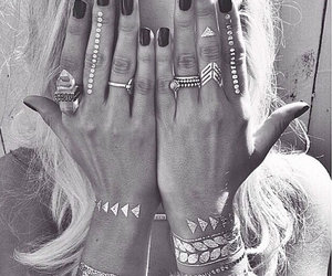 tattoo, nails, and black and white image