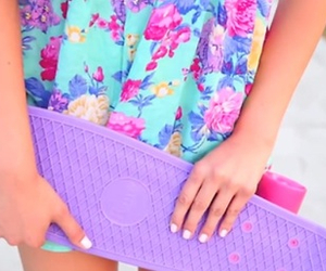 purple, summer, and penny board image