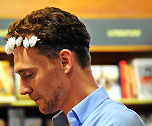 tom hiddleston, flower crown, and loki image