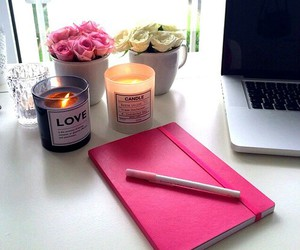candles, pink, and flowers image