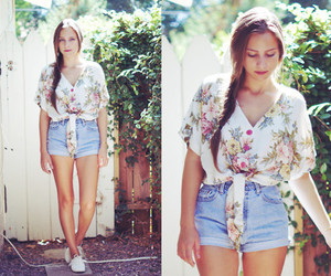 floral, shorts, and summer image