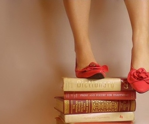 book, shoes, and red image