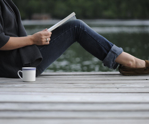 book, girl, and shoes image