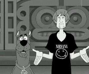 nirvana, scooby doo, and black and white image