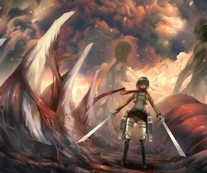 anime, attack on titan, and mikasa image