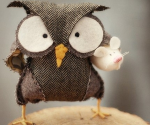 owl, cute, and mouse image