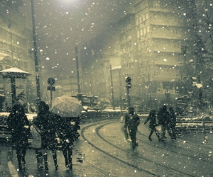 snow, city, and people image