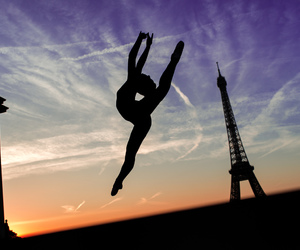 ballerina, dance, and eiffel tower image