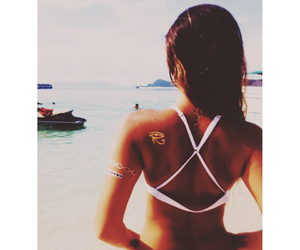 brunette, sea, and tattoo image
