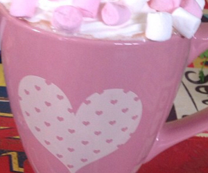 coffee, marshmallows, and pink image