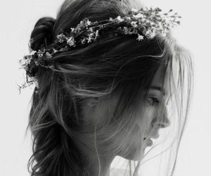 beauty, flower crown, and black and white image