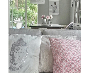 couch, decor, and flowers image