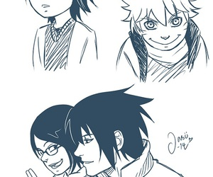 sasusaku, family uchiha, and naruto image