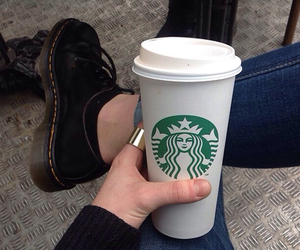 starbucks, coffee, and shoes image
