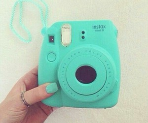 camera, polaroid, and blue image