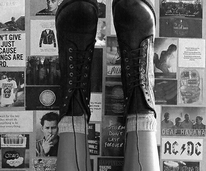 grunge, boots, and black and white image