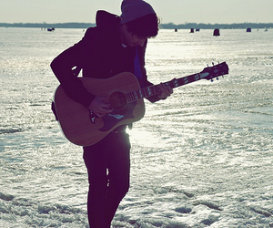 guitar, boy, and beach image