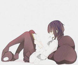 anime, girl, and book image