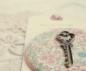 key, flowers, and vintage image