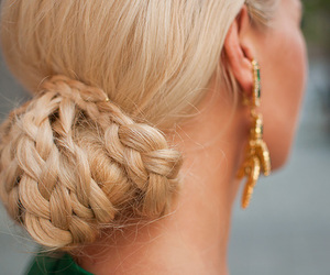 blonde, bun, and gold image