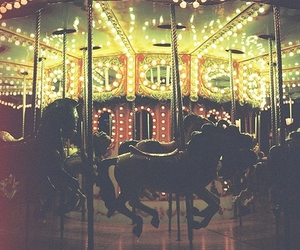 light, carousel, and horse image