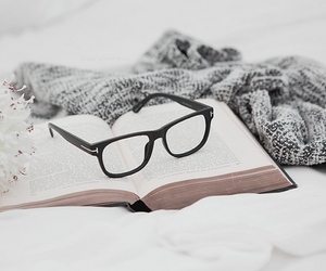 book, glasses, and bed image