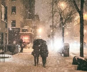 christmas, couple, and city image
