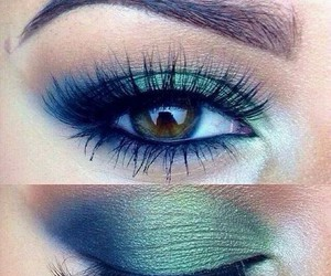 make up, eye, and green image