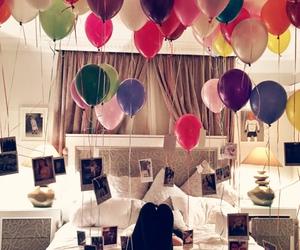 balloons, girl, and lights image