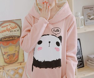 cute, pink, and panda image