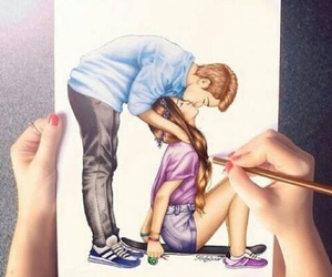 boy, couple, and drawings image