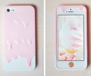 iphone, pink, and ice cream image