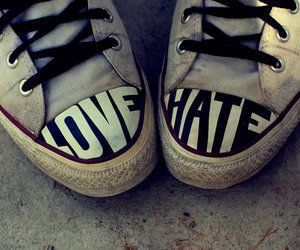 love, hate, and shoes image
