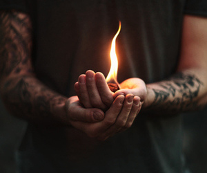 fire, tattoo, and boy image