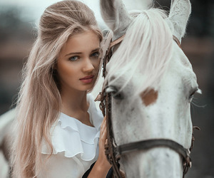 horse, woman, and beauty image