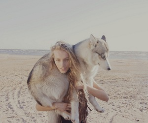 girl, wolf, and dog image