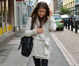 bag, brunette, and fashion image