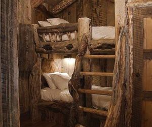 bed, wood, and bedroom image
