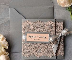 wedding, invitation, and lace image