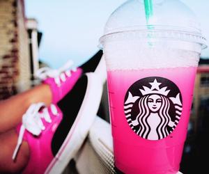 starbucks, pink, and vans image