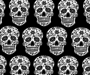 wallpaper, skull, and black image