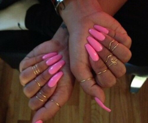 nails, pink, and coffin shape image