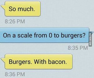 love, burger, and bacon image