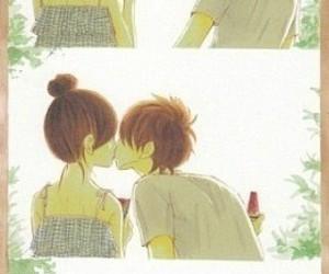 boy, kiss, and watermelon image