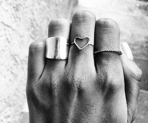 rings, black and white, and hand image