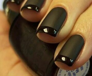 black nails, manicure, and matte finish nails image