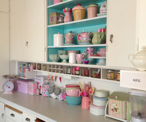 kitchen, pretty, and pink image