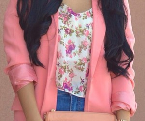 floral tops and coral blazer image