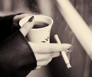 smoke, coffee, and cigarette image
