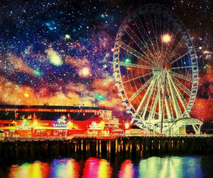 beautiful, ferris wheel, and galaxy image